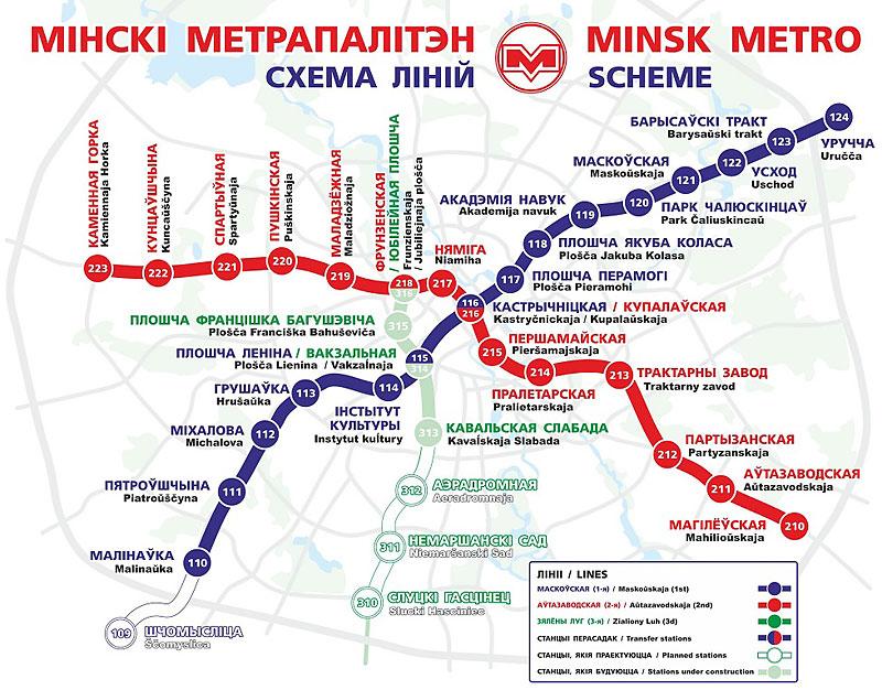 mapa de la red de metro de Minsk
