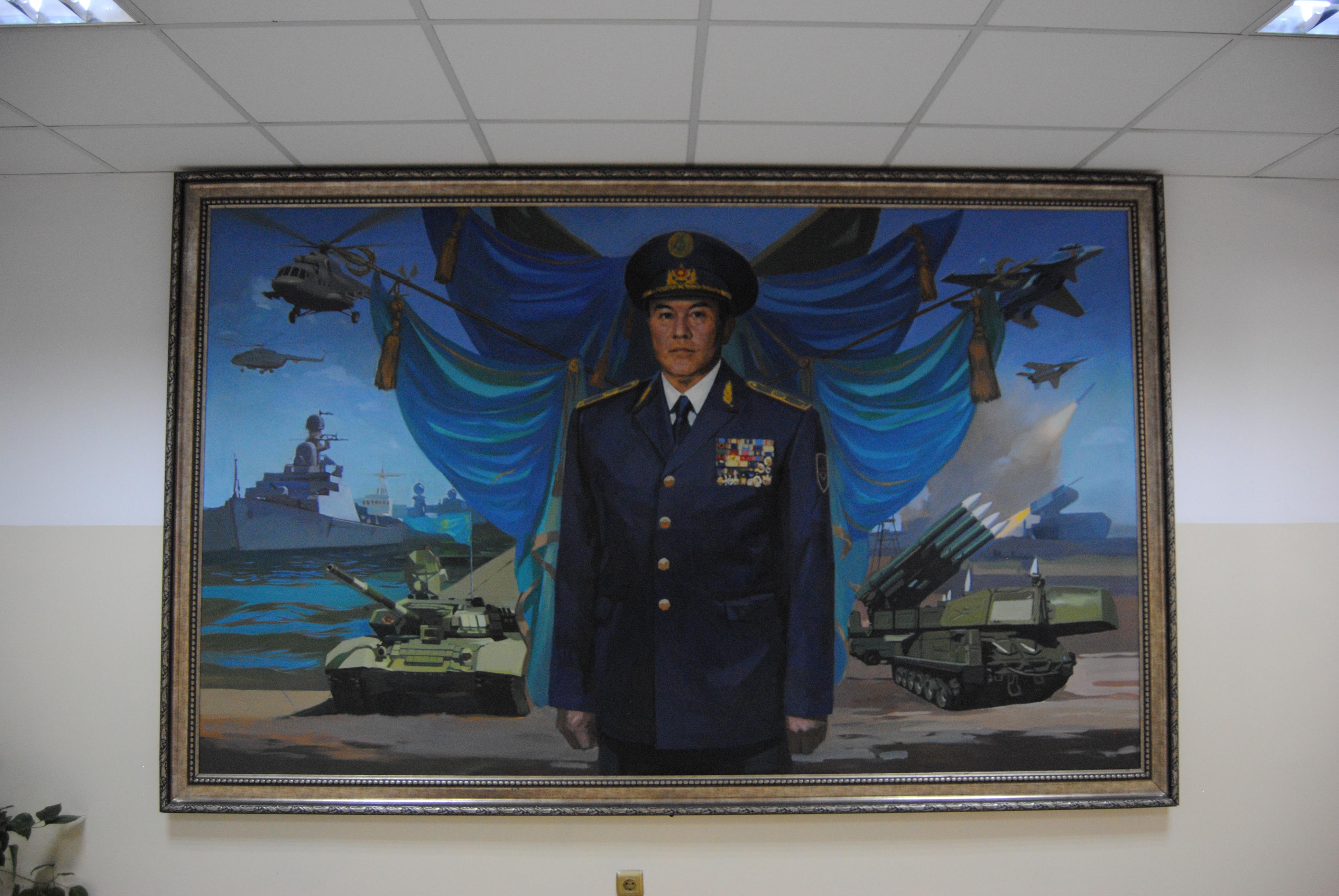 Retrato de Nursultan Nazarbayev en el Museo de Historia Militar de Almaty