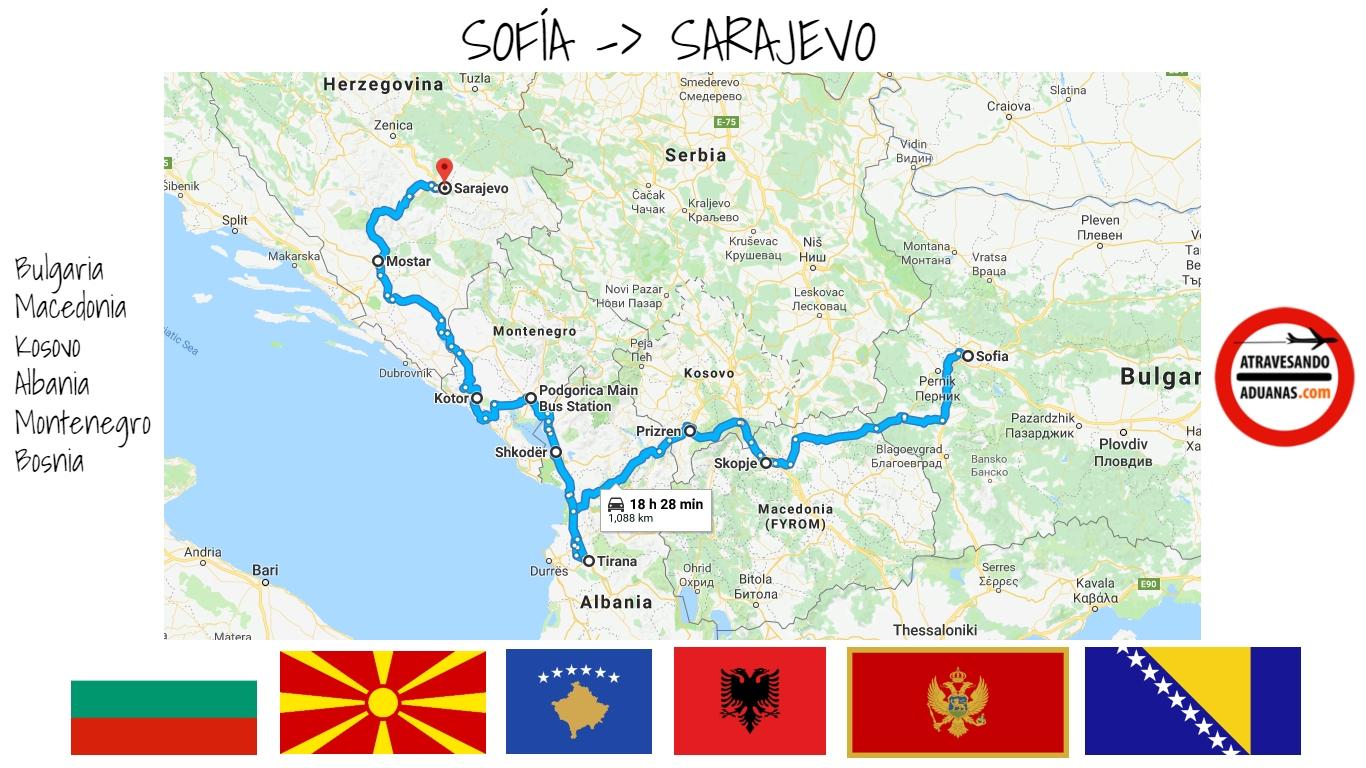 Mapa de la ruta en autobús por los Balcanes