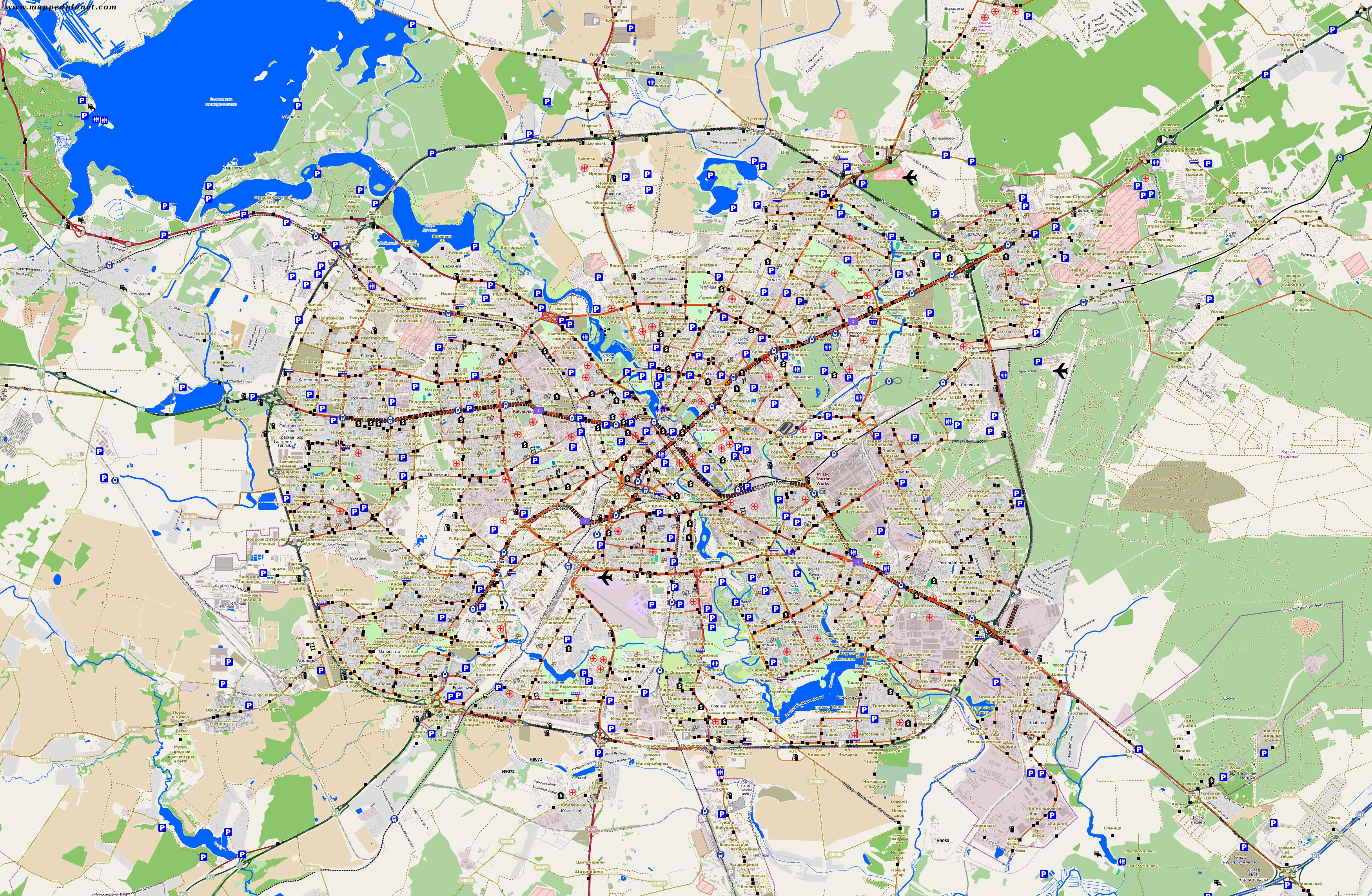 mapa de Minsk y su periferia