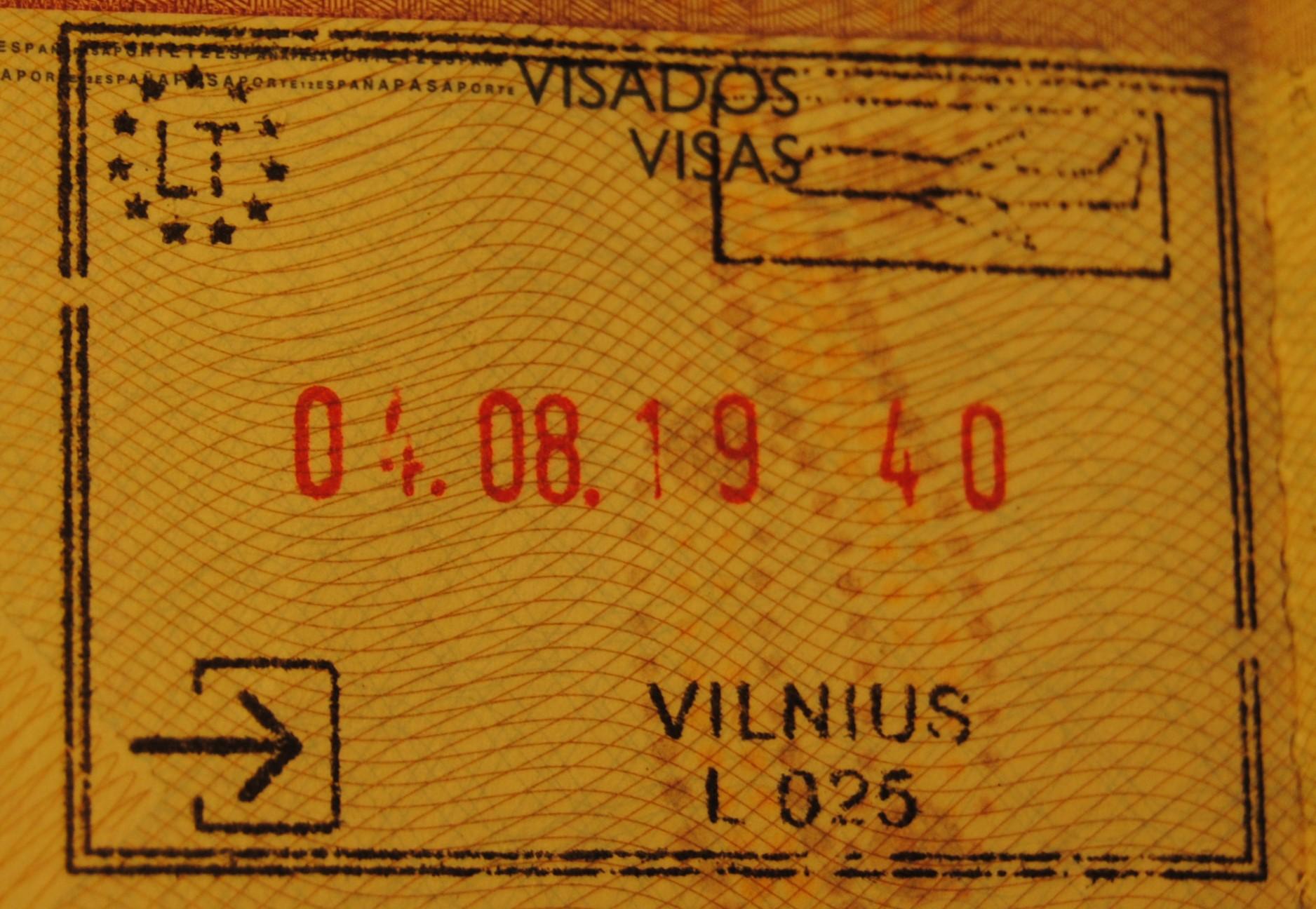 sello de entrada lituania aeropuerto de vilnius