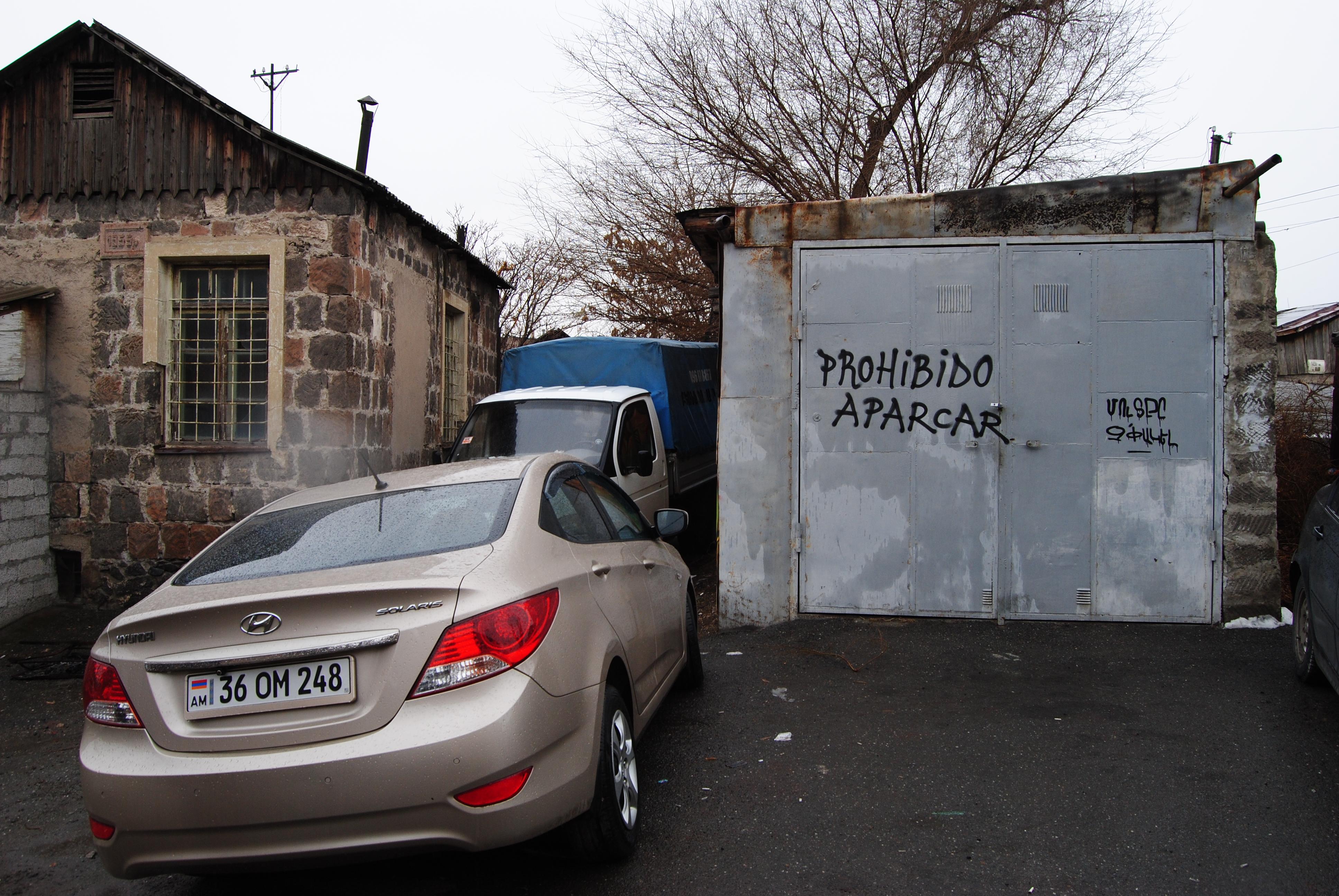 Cartel en español en Ereván