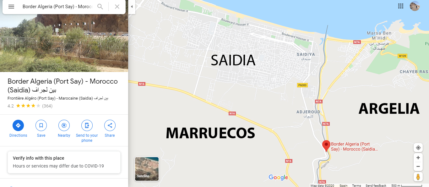 SITUACIÓN DE LA FRONTERA ENTRE MARRUECOS Y ARGELIA EN SAÏDIA
