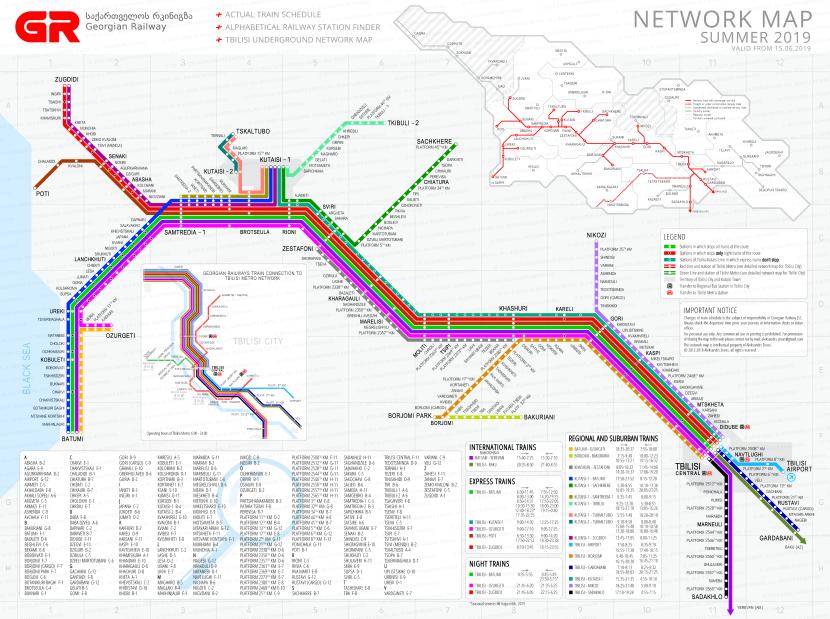 mapa de los ferrocarriles georgianos