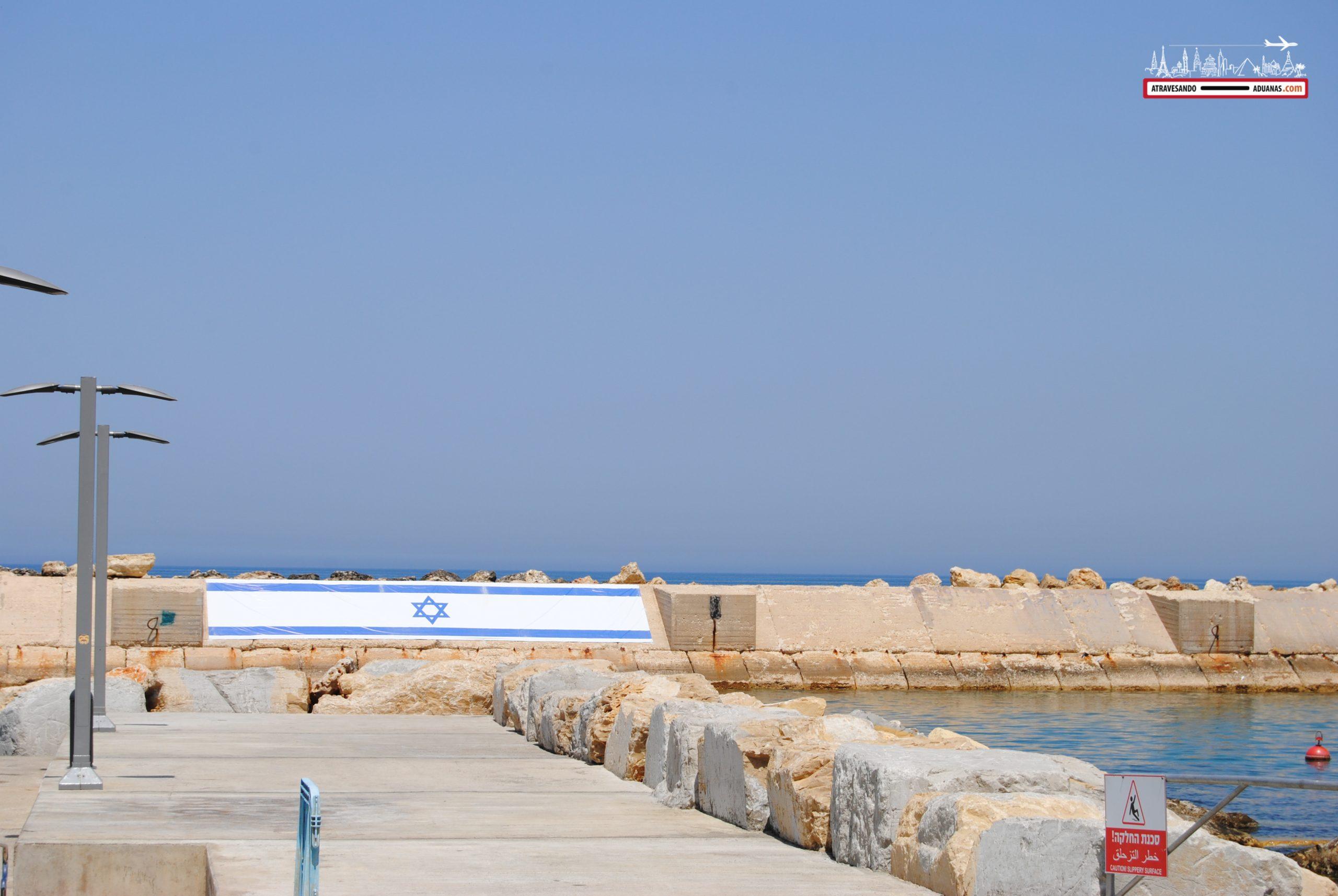 Bandera de Israel en Jaffa