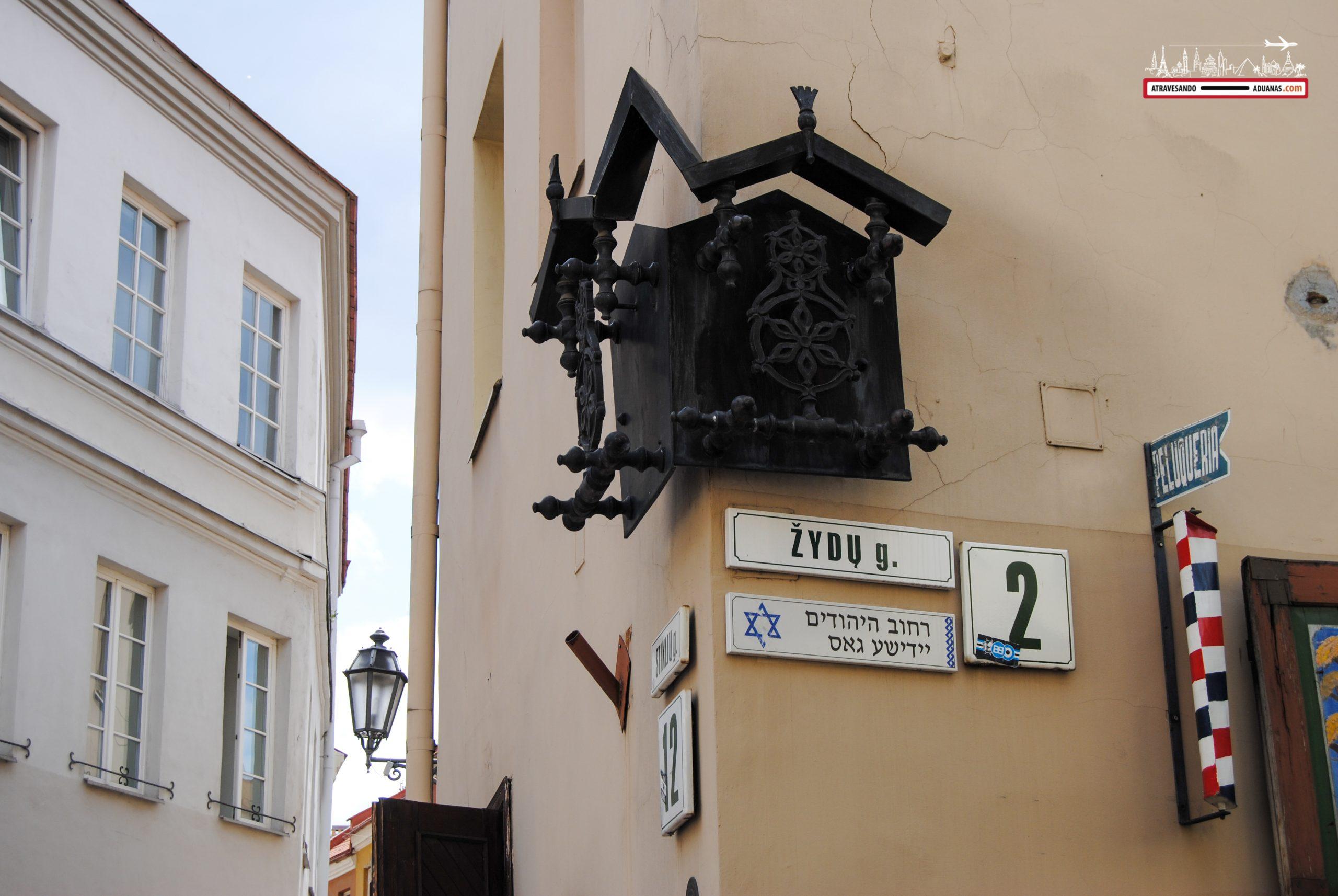 Calle escrita en hebreo, Vilnius