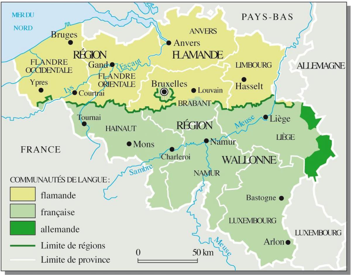 Mapa lingüístico de Bélgica