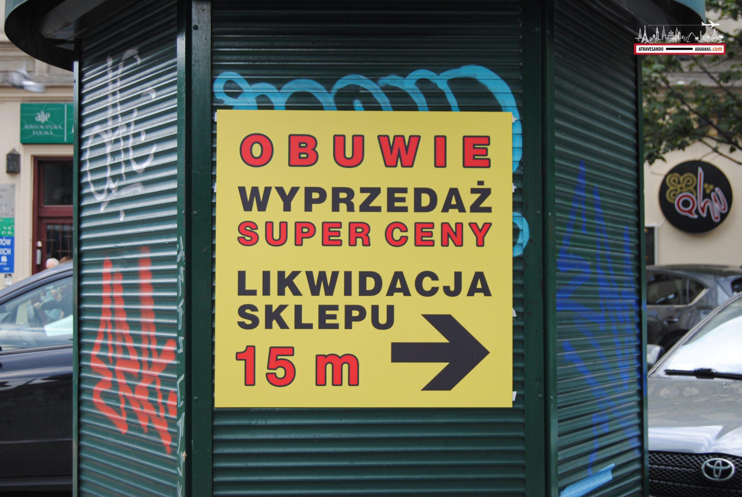 Cartel en polaco en Cracovia