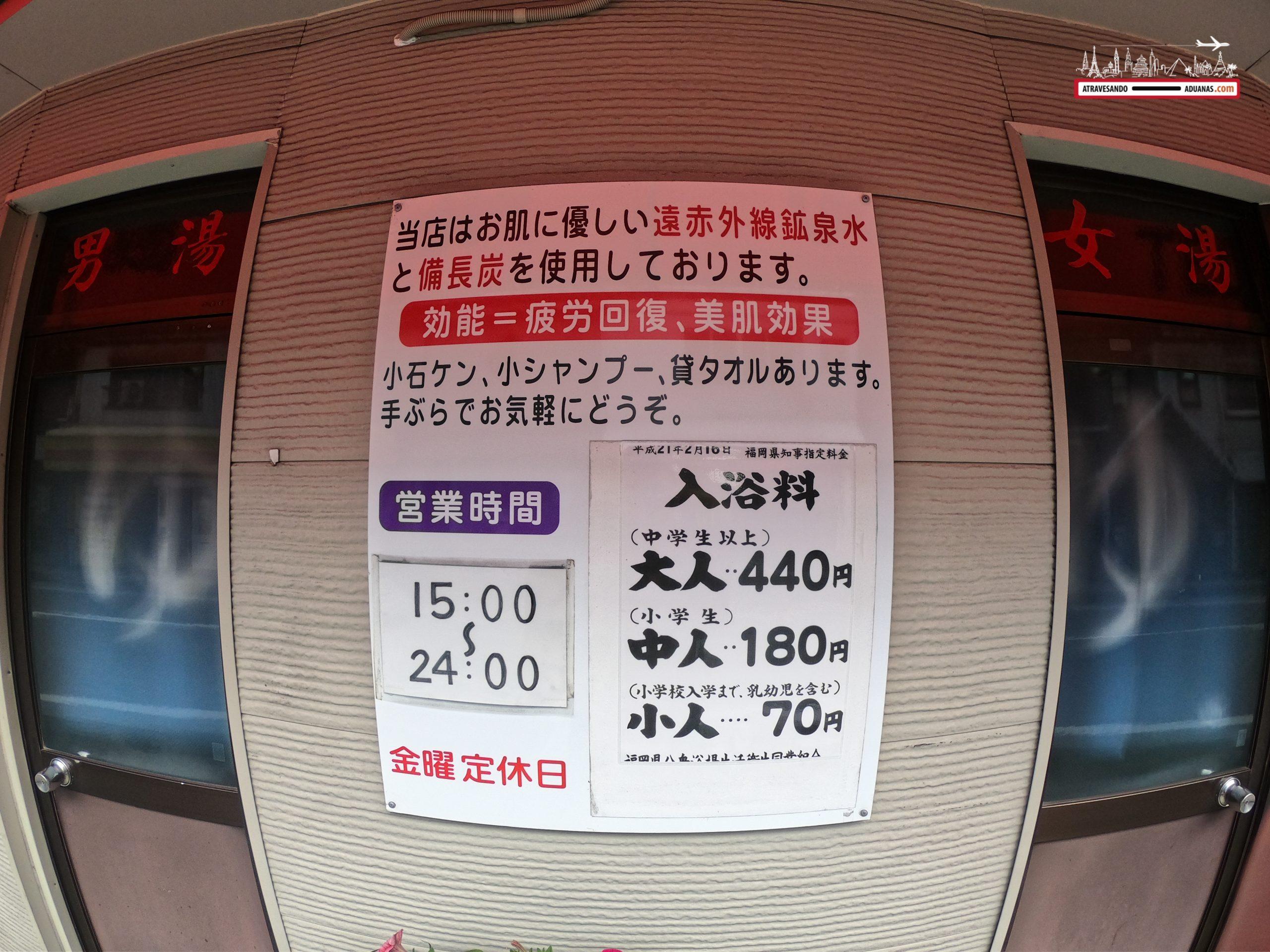 Horarios de apertura en un Sento de Fukuoka