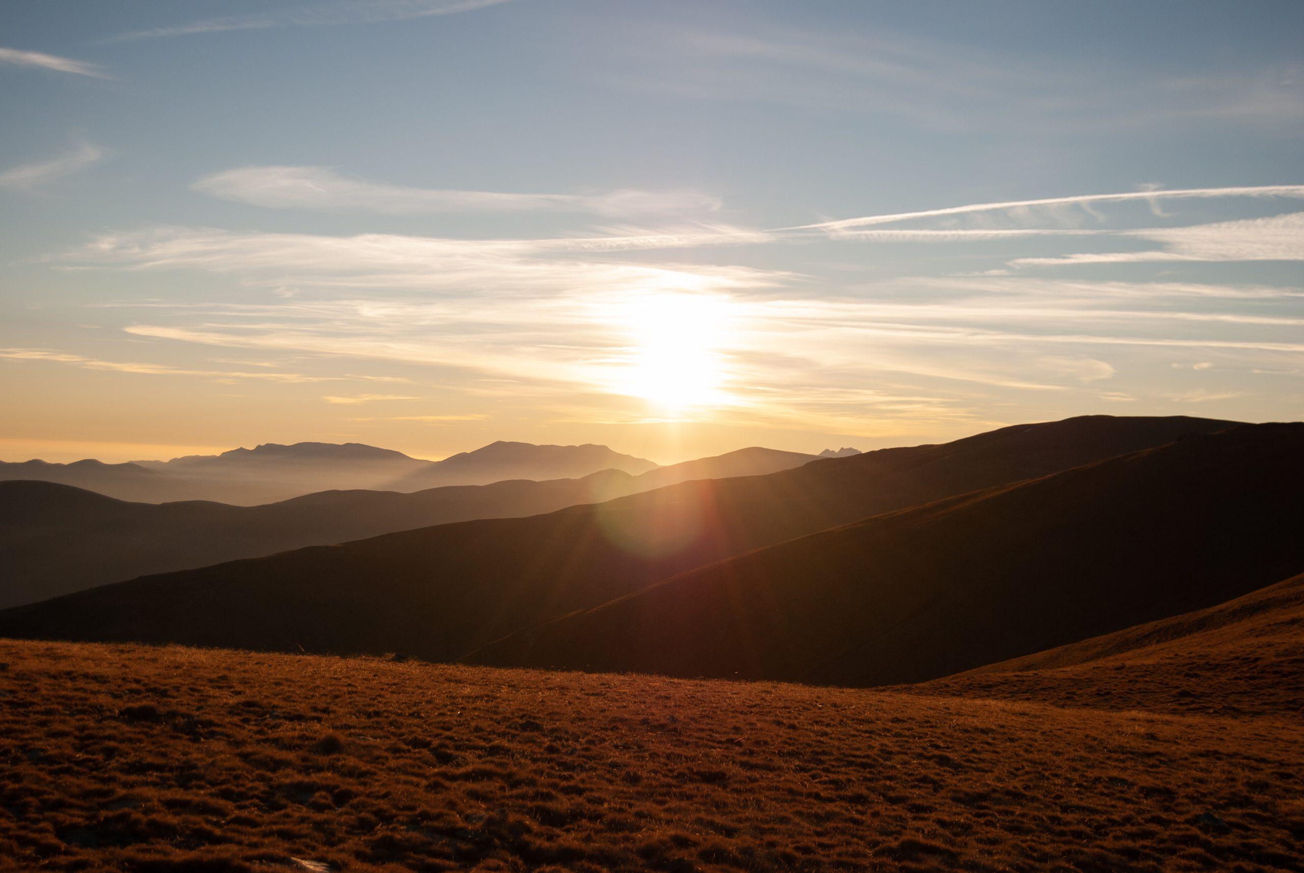 puesta de sol de camino al Puigmal