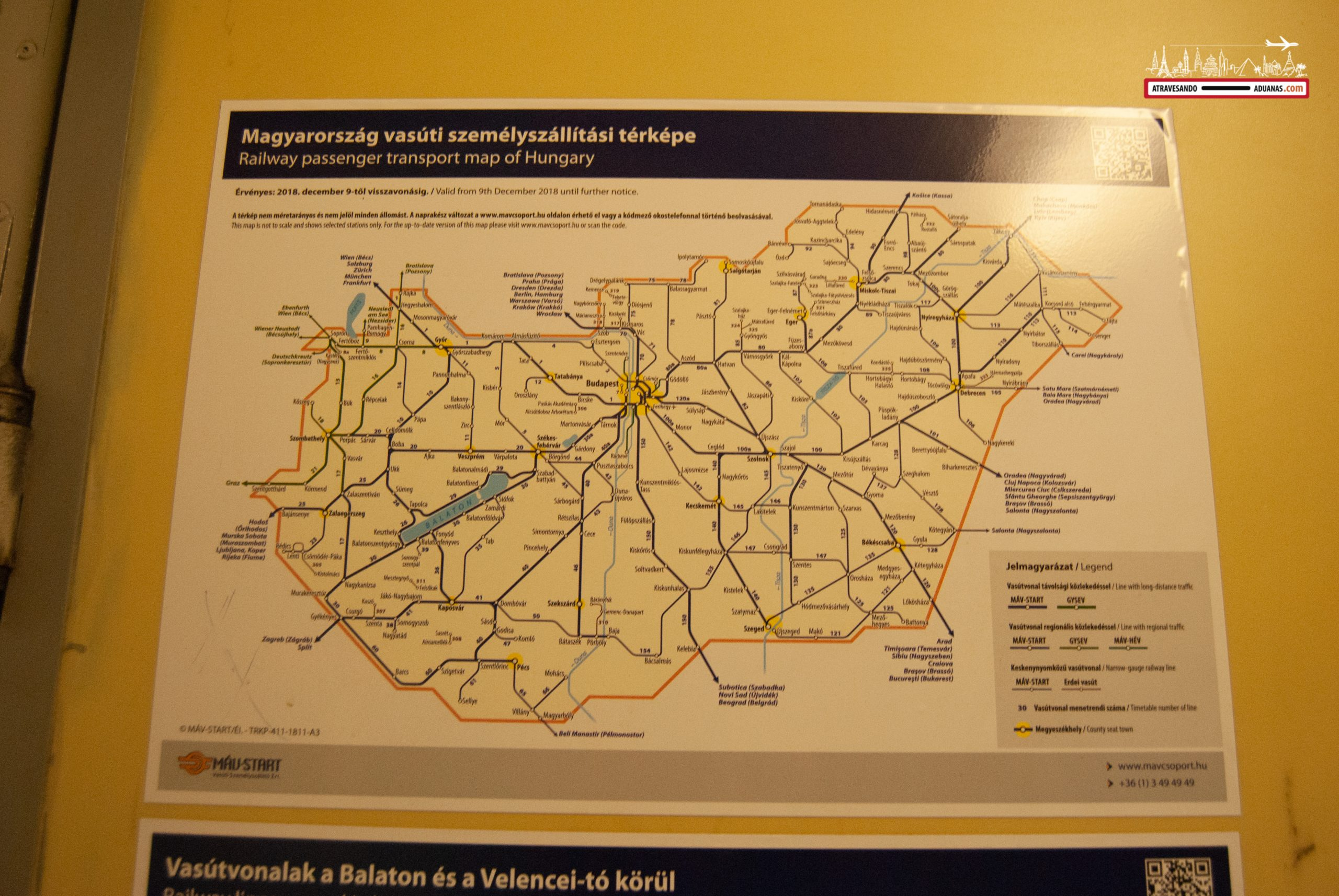 Mapa de la red de ferrocarriles húngaros